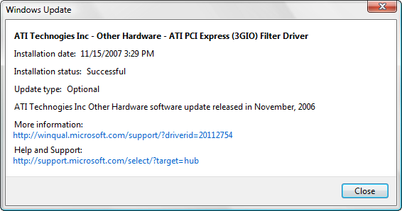 ATI PCI Express 3GIO Filter Driver