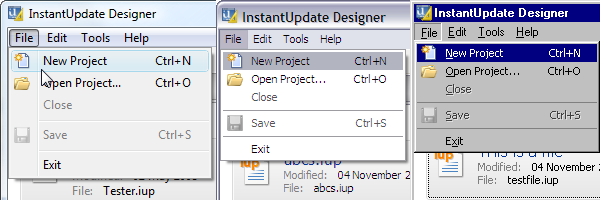 VistaMenu on the InstantUpdate Designer