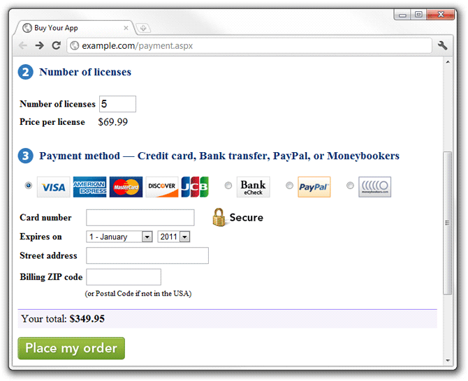 Payment example included in the LimeLM Web API Pack