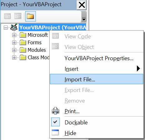Adding existing files to VBA