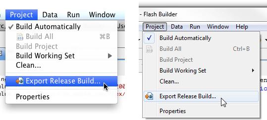 Export Release Build... menu