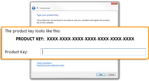 Entering a product key in TurboActivate