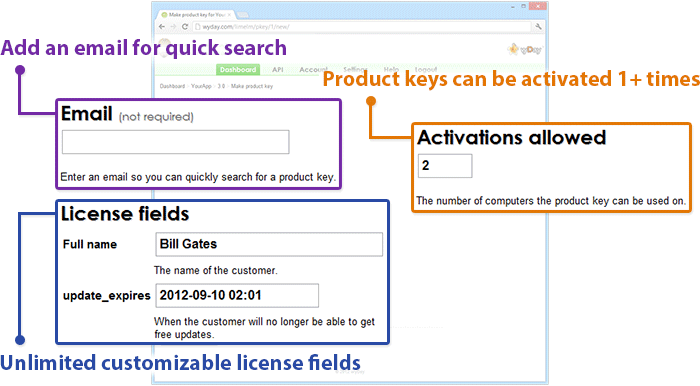 Creating a new product key