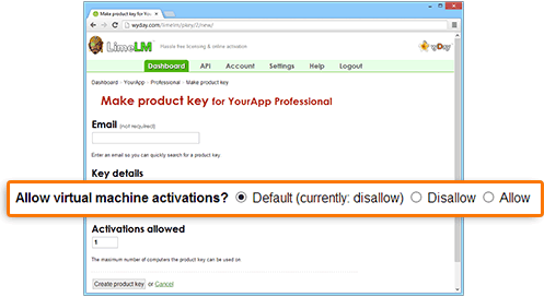 Allowing VM activations at the product key level