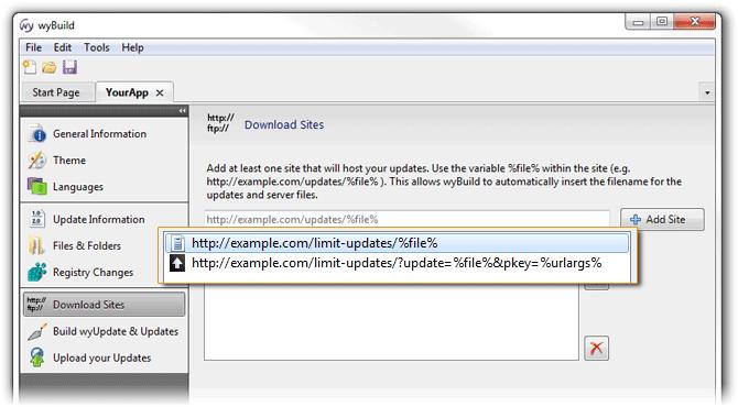 Limit updates in wyBuild