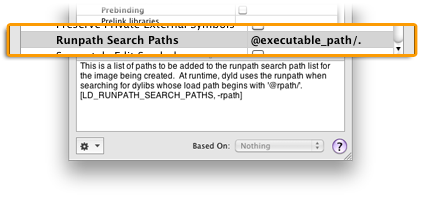 Set the 'Runpath Search Paths' in Xcode