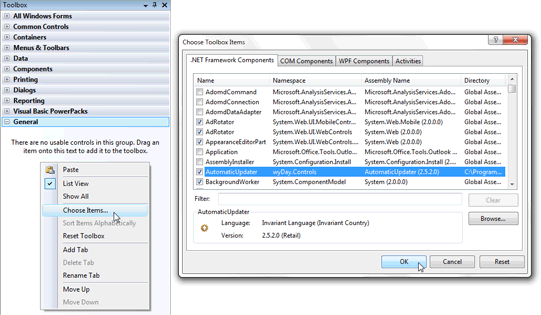 Adding AutomaticUpdater control to Visual Studio Toolbox