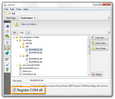 Registering COM dlls in wyBuild