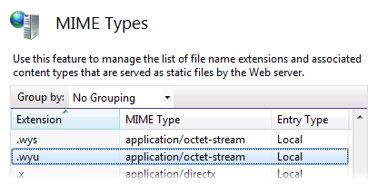 IIS MIME type list