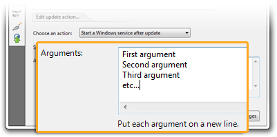 Arguments when starting services